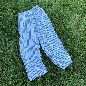 High rise pinstripe flowy trouser pants 14